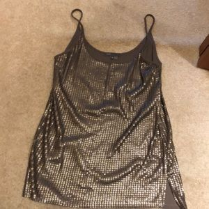 Vince sequin cami top in taupe color, size Small